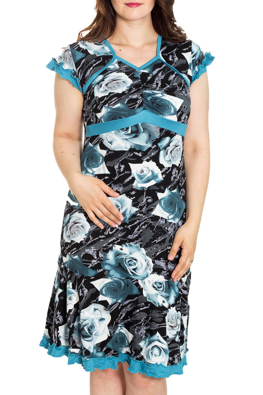 ПлатьеПлатья<br>Цветное платье с контрасной отделкой. Модель выполнена из мягкой вискозы.   Цвет: черный, белый, голубой  Рост девушки-фотомодели 180 см<br><br>По материалу: Вискоза,Трикотаж<br>По рисунку: Растительные мотивы,С принтом,Цветные,Цветочные<br>По силуэту: Полуприталенные<br>Рукав: Короткий рукав<br>По сезону: Лето,Весна,Зима,Осень,Всесезон<br>По длине: До колена<br>По форме: Домашние платья<br>Размер : 50,54,56,58<br>Материал: Вискоза<br>Количество в наличии: 4