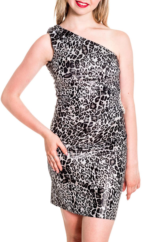 ПлатьеПлатья<br>Эффектное платье облегающего силуэта. Модель выполнена из приятного материала. Отличный выбор для любого случая.  Цвет: черный, белый, серый  Рост девушки-фотомодели 170 см<br><br>По длине: До колена<br>По материалу: Тканевые<br>По рисунку: Леопард,С принтом,Цветные<br>По сезону: Весна,Зима,Лето,Осень,Всесезон<br>По силуэту: Приталенные<br>По стилю: Нарядный стиль<br>По форме: Платье - футляр<br>По элементам: С открытыми плечами<br>Рукав: Без рукавов<br>Горловина: Фигурная горловина<br>Размер : 42-44<br>Материал: Плательная ткань<br>Количество в наличии: 1