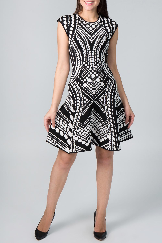 ПлатьеПлатья<br>Запоминающееся платье с круглой горловиной и короткими рукавами. Модель выполнена из приятного трикотажа. Отличный выбор для повседневного гардероба.  Цвет: черный, белый  Рост девушки-фотомодели 170 см.<br><br>Горловина: С- горловина<br>По длине: До колена<br>По материалу: Вискоза,Трикотаж<br>По рисунку: Абстракция,В горошек,Цветные<br>По сезону: Весна,Осень,Лето<br>По силуэту: Полуприталенные<br>По стилю: Повседневный стиль<br>По форме: Платье - трапеция<br>Рукав: Короткий рукав<br>Размер : 40<br>Материал: Трикотаж<br>Количество в наличии: 1