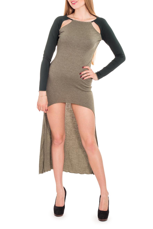 ПлатьеПлатья<br>Необычное платье – современная стильная модель для самых модных девушек. Длинное сзади и очень короткое спереди, оно привлекает внимание к вашей стройной фигуре. Прорези на плечах в рукаве реглан сделают вас не только сексуально привлекательнее, но и более стильной. Дополнительная деталь в виде капюшона-шарфа, который легко отстегивается, позволяет создавать несколько разных образов.  Цвет: зеленый  Рост девушки-фотомодели 170 см.<br><br>Горловина: С- горловина<br>По длине: Мини<br>По материалу: Вискоза,Трикотаж<br>По рисунку: Цветные<br>По силуэту: Приталенные<br>По стилю: Молодежный стиль,Повседневный стиль,Кэжуал<br>По форме: Платье - футляр<br>По элементам: С вырезом,С капюшоном,С фигурным низом,Со шлейфом<br>Рукав: Длинный рукав<br>По сезону: Осень,Весна<br>Размер : 42,44,46<br>Материал: Трикотаж<br>Количество в наличии: 3