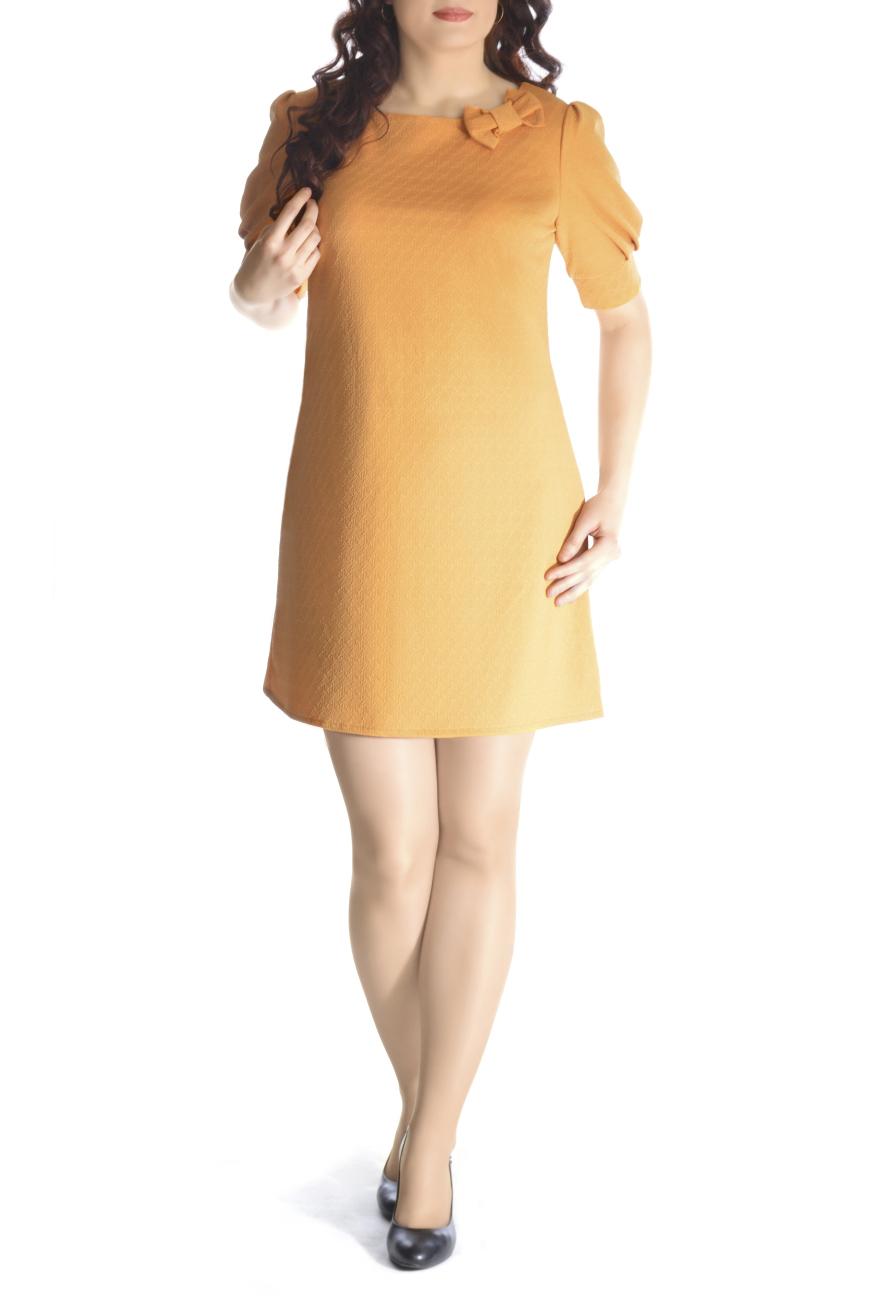 ПлатьеПлатья<br>Вашу женственность и изящество подчеркнёт это великолепное платье А-силуэта из фактурного трикотажа. Горловина украшена декоративным банктиком. На спинке капелька. Рукав фонарик на манжете. Вырез горловины лодочка. Рукав 1/2.   Длина изделия 85-87 см.   Ткань - плотный трикотаж, характеризующийся эластичностью, растяжимостью и мягкостью.  Цвет: желтый  Рост девушки-фотомодели 170 см<br><br>Горловина: С- горловина<br>По длине: До колена<br>По материалу: Вискоза,Трикотаж<br>По рисунку: Однотонные,Фактурный рисунок<br>По силуэту: Свободные<br>По стилю: Повседневный стиль<br>По форме: Платье - трапеция<br>По элементам: С декором,С манжетами<br>Рукав: До локтя<br>По сезону: Осень,Весна,Зима<br>Размер : 44,50<br>Материал: Жаккард<br>Количество в наличии: 2