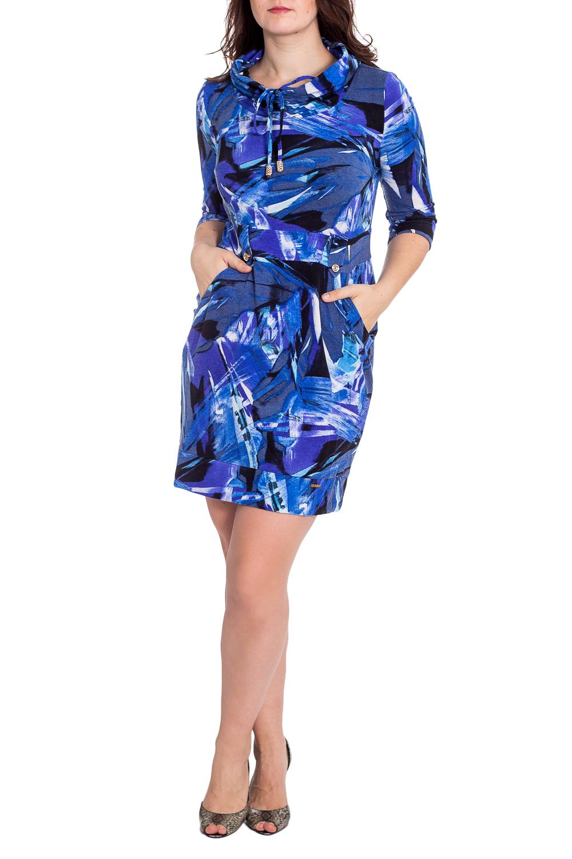 ПлатьеПлатья<br>Уютное платье спортивного покроя с воротником quot;хомутquot;, отрезное по линии талии, с удобными кармашками. Платье без пояса.  В изделии использованы цвета: синий, голубой и др.  Рост девушки-фотомодели 180 см.<br><br>Воротник: Хомут<br>По длине: До колена<br>По материалу: Трикотаж<br>По рисунку: С принтом,Цветные<br>По силуэту: Полуприталенные<br>По стилю: Повседневный стиль<br>Рукав: Рукав три четверти<br>По сезону: Осень,Весна,Зима<br>Размер : 52<br>Материал: Трикотаж<br>Количество в наличии: 1