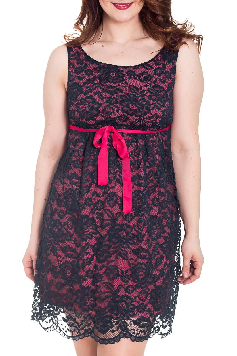 ПлатьеПлатья<br>Нарядное женское платье. Модель выполнена из ажурного гипюра. Отличный выбор для любого торжества.  За счет свободного кроя и эластичного материала изделие комфортно носить во время беременности  Цвет: черный, розовый  Рост девушки-фотомодели 180 см<br><br>Горловина: С- горловина<br>По длине: До колена<br>По материалу: Вискоза,Гипюр<br>По рисунку: Цветные<br>По сезону: Весна,Осень,Всесезон<br>По силуэту: Полуприталенные<br>По стилю: Нарядный стиль,Вечерний стиль<br>По форме: Платье - трапеция<br>Рукав: Без рукавов<br>Размер : 44,46,48,50<br>Материал: Гипюр<br>Количество в наличии: 8