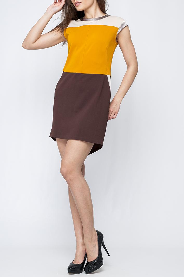 ПлатьеПлатья<br>Стильное трикотажное платье полуприлегающего силуэта. На спинке расположенна накладная металлизированная застежка-молния. Подол ассиметричный, выполнен треугольный вырез сзади. Данная модель придаст стильности для Вашего повседневного образа.   Параметры изделия:  размер 44: обхват груди 90 см, обхват бедер 98 см, длина изделия 85 см.   Цвет: молочный, желтый, коричневый  Рост девушки-фотомодели 170 см<br><br>Горловина: С- горловина<br>По длине: До колена<br>По материалу: Трикотаж<br>По образу: Город,Свидание<br>По рисунку: Цветные<br>По стилю: Повседневный стиль<br>По форме: Платье - футляр<br>По элементам: С молнией,С фигурным низом<br>Рукав: Без рукавов<br>По сезону: Осень,Весна<br>По силуэту: Приталенные<br>Размер : 40,42,44,48<br>Материал: Трикотаж<br>Количество в наличии: 4