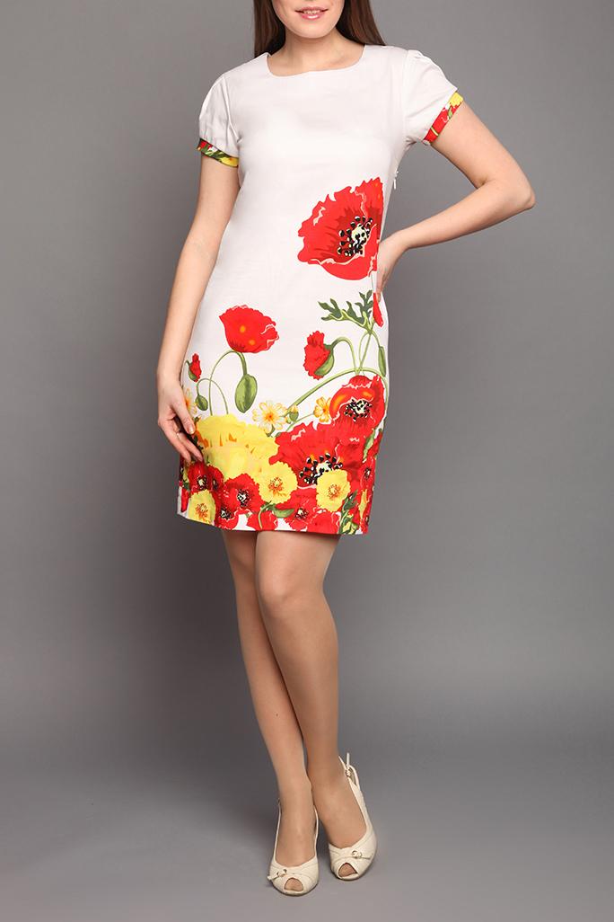 ПлатьеПлатья<br>Женское платье приталенного силуэта, с коротким рукавом. Выполненное в хлопковой ткани с ярким дизайнерским принтом, оно станет лучшим в летней коллекции молодой женщины.  Цвет: белый, красный, желтый, зеленый  Ростовка изделия 164 см.<br><br>Горловина: С- горловина<br>По длине: До колена<br>По материалу: Тканевые,Хлопок<br>По образу: Город,Свидание<br>По рисунку: Растительные мотивы,С принтом,Цветные,Цветочные<br>По сезону: Весна,Лето<br>По силуэту: Полуприталенные<br>По стилю: Повседневный стиль<br>По форме: Платье - футляр<br>Рукав: Короткий рукав<br>Размер : 44,46<br>Материал: Костюмно-плательная ткань<br>Количество в наличии: 2