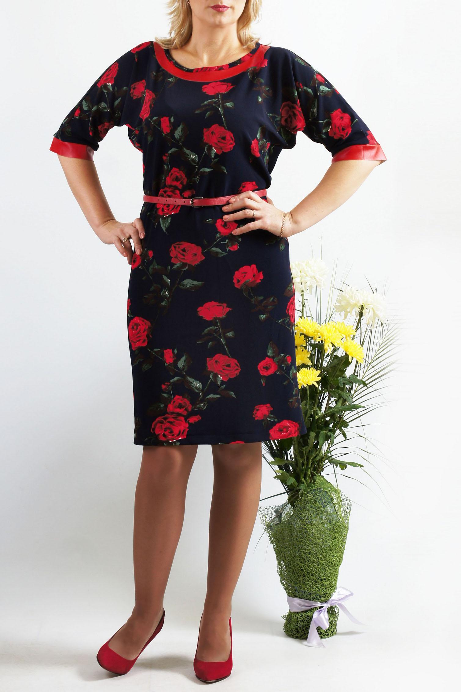 ПлатьеПлатья<br>Незаменимая вещь в Вашем гардеробе - супер комфортное платье из приятного трикотажа. Платье прямого силуэта с цельнокроеными рукавами. Рукава длиной до локтя, обработаны манжетой. Горловина расширенная, округлая, по переду обработана двойной кокеткой. Платье без пояса.  Длина около 93-96 см. в зависимости от размера  В изделии использованы цвета: темно-синий, красный, зеленый и др.  Параметры размеров: 42 размер - обхват груди 84 см., обхват талии 64 см., обхват бедер 92 см. 44 размер - обхват груди 88 см., обхват талии 68 см., обхват бедер 96 см. 46 размер - обхват груди 92 см., обхват талии 72 см., обхват бедер 100 см. 48 размер - обхват груди 96 см., обхват талии 76 см., обхват бедер 104 см. 50 размер - обхват груди 100 см., обхват талии 80 см., обхват бедер 108 см. 52 размер - обхват груди 104 см., обхват талии 85 см., обхват бедер 112 см. 54 размер - обхват груди 108 см., обхват талии 89 см., обхват бедер 116 см. 56 размер - обхват груди 112 см., обхват талии 94 см., обхват бедер 120 см. 58 размер - обхват груди 116 см., обхват талии 100 см., обхват бедер 124 см.  Ростовка изделия 167-173 см.<br><br>Горловина: С- горловина<br>По длине: До колена<br>По материалу: Вискоза,Трикотаж<br>По рисунку: Растительные мотивы,С принтом,Цветные,Цветочные<br>По силуэту: Полуприталенные<br>По стилю: Повседневный стиль<br>По форме: Платье - футляр<br>По элементам: С разрезом<br>Разрез: Короткий<br>Рукав: До локтя<br>По сезону: Осень,Весна,Зима<br>Размер : 54<br>Материал: Трикотаж<br>Количество в наличии: 1