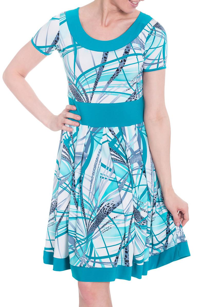 ПлатьеПлатья<br>Яркое летнее платье. Модель выполнена из приятного материала. Отличный выбор для повседневного гардероба.  Цвет: голубой, белый  Рост девушки-фотомодели 170 см.<br><br>Горловина: С- горловина<br>По длине: До колена<br>По материалу: Вискоза,Трикотаж<br>По рисунку: С принтом,Цветные<br>По силуэту: Полуприталенные<br>По стилю: Повседневный стиль<br>По форме: Платье - трапеция<br>Рукав: Короткий рукав<br>По сезону: Лето<br>Размер : 44<br>Материал: Холодное масло<br>Количество в наличии: 1
