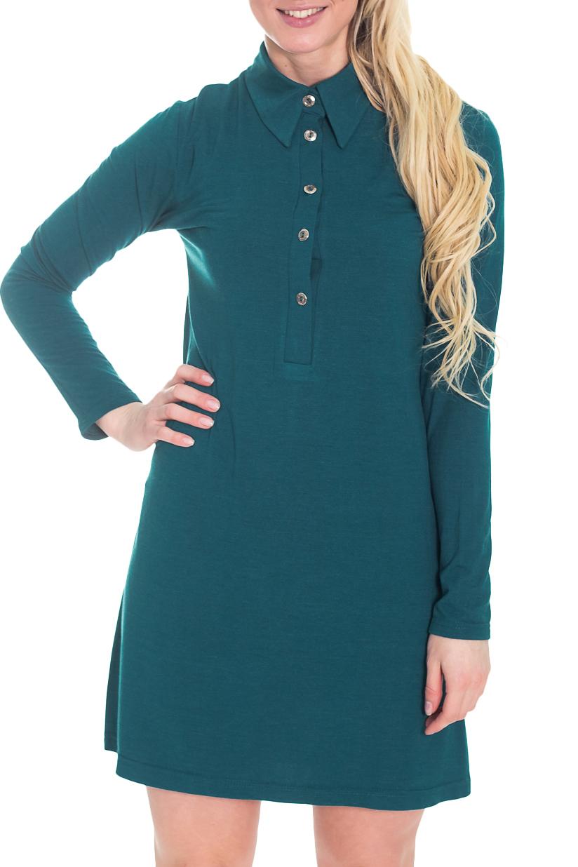 ПлатьеПлатья<br>Прекрасное платье с рубашечным воротником и длинными рукавами. Модель выполнена из приятного материала. Отличный выбор для повседневного гардероба.  Цвет: морская волна  Рост девушки-фотомодели 170 см.<br><br>Воротник: Рубашечный,Стояче-отложной<br>По длине: До колена<br>По материалу: Вискоза,Трикотаж<br>По образу: Город,Офис,Свидание<br>По рисунку: Однотонные<br>По силуэту: Полуприталенные<br>По стилю: Офисный стиль,Повседневный стиль,Классический стиль,Кэжуал<br>По форме: Платье - рубашка<br>Рукав: Длинный рукав<br>По сезону: Осень,Весна<br>По элементам: С воротником,С декором,С отделочной фурнитурой,С пуговицами<br>Размер : 42,44,46,48<br>Материал: Трикотаж<br>Количество в наличии: 3