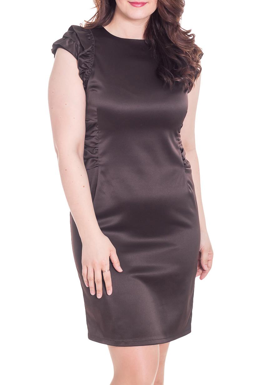 ПлатьеПлатья<br>Нарядное платье с декоративной драпировкой. Модель выполнена из гладкого атласа. Отличный выбор для любого случая.  Цвет: коричневый  Рост девушки-фотомодели 180 см.<br><br>Горловина: С- горловина<br>По длине: До колена<br>По материалу: Атлас,Вискоза<br>По образу: Свидание<br>По рисунку: Однотонные<br>По сезону: Весна,Зима,Лето,Осень,Всесезон<br>По силуэту: Полуприталенные<br>По стилю: Нарядный стиль<br>По форме: Платье - футляр<br>По элементам: С декором,С разрезом,Со складками<br>Рукав: Без рукавов<br>Разрез: Короткий<br>Размер : 48,54<br>Материал: Атлас<br>Количество в наличии: 2