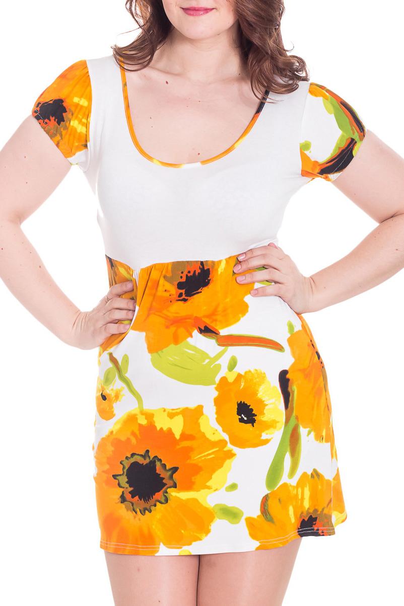 ПлатьеПлатья<br>Яркое летнее платье. Модель выполнена из приятного материала. Отличный выбор для повседневного гардероба.  Цвет: белый, желтый, зеленый  Рост девушки-фотомодели 180 см.<br><br>Горловина: С- горловина<br>По длине: До колена,Мини<br>По материалу: Вискоза,Трикотаж<br>По рисунку: Растительные мотивы,С принтом,Цветные,Цветочные<br>По силуэту: Полуприталенные<br>По стилю: Повседневный стиль,Летний стиль<br>По форме: Платье - футляр<br>Рукав: Короткий рукав<br>По сезону: Лето<br>Размер : 46,50,52<br>Материал: Вискоза<br>Количество в наличии: 3
