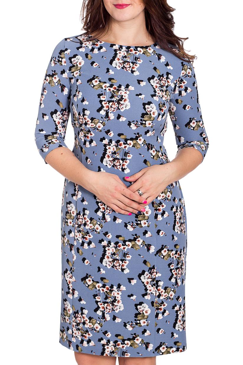 ПлатьеПлатья<br>Прелестное платье из приятного материала с модным цветочным принтом. Рукав втачной длиной три четверти. Овальный вырез горловины.   В изделии использованы цвета: лавандовый, белый и др.  Рост девушки-фотомодели 180 см.<br><br>Горловина: С- горловина<br>По длине: До колена<br>По материалу: Вискоза,Тканевые<br>По рисунку: Растительные мотивы,С принтом,Цветные,Цветочные<br>По силуэту: Полуприталенные<br>По стилю: Повседневный стиль<br>По форме: Платье - футляр<br>По элементам: С разрезом<br>Разрез: Короткий,Шлица<br>Рукав: Рукав три четверти<br>По сезону: Осень,Весна,Зима<br>Размер : 48,50,52<br>Материал: Плательная ткань<br>Количество в наличии: 3