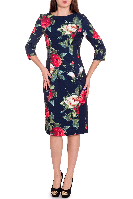 ПлатьеПлатья<br>Прелестное платье из плотной креповой ткани с большим содержанием эластана с модным цветочным принтом. Рукав— реглан, длиной 3/4. Овальный вырез горловины. Платье очень комфортным и невероятно женственное.  В изделии использованы цвета: синий, зеленый, красный и др.  Рост девушки-фотомодели 173 см<br><br>Горловина: С- горловина<br>По длине: Ниже колена<br>По материалу: Вискоза,Тканевые<br>По рисунку: Растительные мотивы,С принтом,Цветные,Цветочные<br>По силуэту: Полуприталенные<br>По стилю: Повседневный стиль<br>По форме: Платье - футляр<br>По элементам: С разрезом<br>Разрез: Короткий,Шлица<br>Рукав: Рукав три четверти<br>По сезону: Осень,Весна,Зима<br>Размер : 44<br>Материал: Плательная ткань<br>Количество в наличии: 1