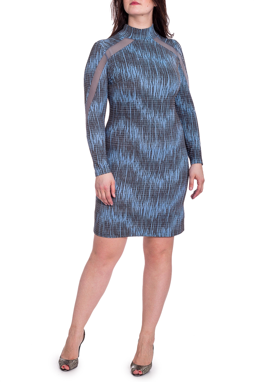 ПлатьеПлатья<br>Платье приталенного силуэта с воротником стойка и длинными рукавами. Модель выполнена из плотного трикотажа со вставками из гипюровой сетки. Отличный выбор для любого случая.   Ростовка изделия 167-173 см.  В изделии использованы цвета: серый, голубой и др.  Длина изделия по спинке 95-102 см. в зависимости от размера.  Параметры размеров: 42 размер - обхват груди 84 см., обхват талии 64 см., обхват бедер 92 см. 44 размер - обхват груди 88 см., обхват талии 68 см., обхват бедер 96 см. 46 размер - обхват груди 92 см., обхват талии 72 см., обхват бедер 100 см. 48 размер - обхват груди 96 см., обхват талии 76 см., обхват бедер 104 см. 50 размер - обхват груди 100 см., обхват талии 80 см., обхват бедер 108 см. 52 размер - обхват груди 104 см., обхват талии 85 см., обхват бедер 112 см. 54 размер - обхват груди 108 см., обхват талии 89 см., обхват бедер 116 см. 56 размер - обхват груди 112 см., обхват талии 94 см., обхват бедер 120 см. 58 размер - обхват груди 116 см., обхват талии 100 см., обхват бедер 124 см.  Рост девушки-фотомодели 180 см.<br><br>Воротник: Стойка<br>По длине: До колена<br>По материалу: Гипюровая сетка,Трикотаж<br>По рисунку: С принтом,Цветные<br>По сезону: Зима,Осень,Весна<br>По силуэту: Приталенные<br>По стилю: Нарядный стиль,Повседневный стиль<br>По форме: Платье - футляр<br>Рукав: Длинный рукав<br>Размер : 46,48,50,52,54,56<br>Материал: Трикотаж + Гипюровая сетка<br>Количество в наличии: 6