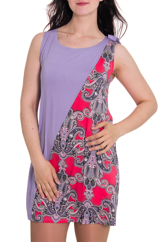 ПлатьеПлатья<br>Женское домашнее платье без рукавов. Домашняя одежда, прежде всего, должна быть удобной, практичной и красивой. В платье Вы будете чувствовать себя комфортно, особенно, по вечерам после трудового дня.  Цвет: сиреневый, розовый  Рост девушки-фотомодели 180 см.<br><br>Горловина: С- горловина<br>По материалу: Вискоза<br>По рисунку: Цветные,Этнические,С принтом<br>По силуэту: Полуприталенные<br>По форме: Платья<br>По сезону: Лето,Весна,Зима,Осень,Всесезон<br>По длине: До колена<br>Рукав: Без рукавов<br>Размер : 42<br>Материал: Вискоза<br>Количество в наличии: 1