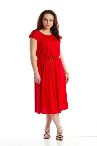 ПлатьеПлатья<br>Летнее платье, приспущенный рукав, юбка на легкой сборке. Модель выполнена из приятного трикотажа. Отличный выбор для повседневного гардероба. Платье без пояса.  Рост девушки-фотомодели 162 см  Цвет: красный<br><br>По образу: Город,Свидание<br>По стилю: Повседневный стиль<br>По материалу: Трикотаж<br>По рисунку: Однотонные<br>По сезону: Лето<br>По силуэту: Свободные<br>По длине: Ниже колена<br>Рукав: Короткий рукав<br>Горловина: С- горловина<br>Размер: 48,50,54,56,58<br>Материал: 70% полиэстер 30% вискоза<br>Количество в наличии: 1