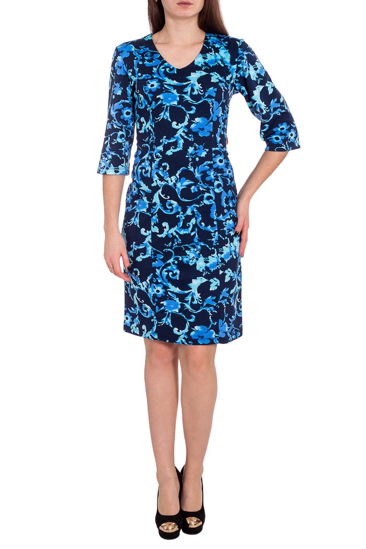 ПлатьеПлатья<br>Цветное платье с закругленной горловиной и рукавами 3/4. Модель выполнена из приятного трикотажа. Отличный выбор для любого случая.  В изделии использованы цвета: синий, голубой  Рост девушки-фотомодели 173 см<br><br>Горловина: V- горловина<br>По длине: До колена<br>По материалу: Вискоза,Трикотаж<br>По образу: Город,Свидание<br>По рисунку: Растительные мотивы,С принтом,Цветные,Цветочные<br>По силуэту: Приталенные<br>По стилю: Повседневный стиль<br>По форме: Платье - футляр<br>Рукав: Рукав три четверти<br>По сезону: Осень,Весна,Зима<br>Размер : 46,48,52,54,56<br>Материал: Трикотаж<br>Количество в наличии: 8