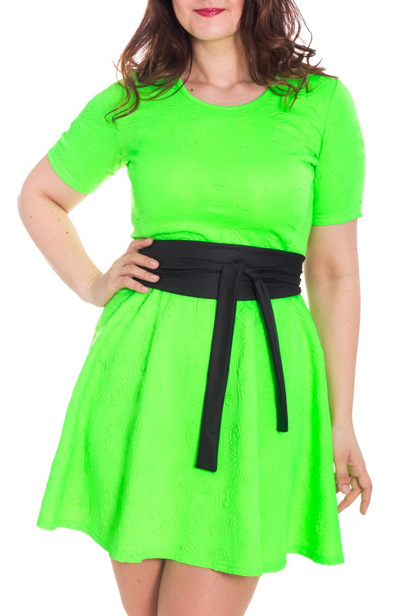 ПлатьеПлатья<br>Яркое платье с круглой горловиной и короткими рукавами. Модель выполнена из фактурного материала. Отличный выбор для любого случая. Платье без пояса.  Цвет: салатовый  Рост девушки-фотомодели 180 см.<br><br>Горловина: С- горловина<br>По длине: До колена<br>По материалу: Вискоза,Трикотаж<br>По рисунку: Неоновые,Однотонные,Фактурный рисунок<br>По силуэту: Полуприталенные<br>По стилю: Молодежный стиль,Кэжуал,Летний стиль,Повседневный стиль<br>По форме: Платье - трапеция<br>Рукав: Короткий рукав<br>По сезону: Лето,Осень,Весна<br>Размер : 46<br>Материал: Трикотаж<br>Количество в наличии: 1