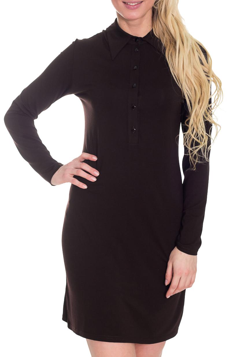 ПлатьеПлатья<br>Прекрасное платье с рубашечным воротником и длинными рукавами. Модель выполнена из приятного материала. Отличный выбор для повседневного гардероба.  Цвет: коричневый  Рост девушки-фотомодели 170 см.<br><br>Воротник: Рубашечный<br>По длине: До колена<br>По материалу: Вискоза,Трикотаж<br>По образу: Город,Офис,Свидание<br>По рисунку: Однотонные<br>По силуэту: Полуприталенные<br>По стилю: Офисный стиль,Повседневный стиль<br>По форме: Платье - рубашка<br>Рукав: Длинный рукав<br>По сезону: Осень,Весна<br>Размер : 42<br>Материал: Трикотаж<br>Количество в наличии: 1