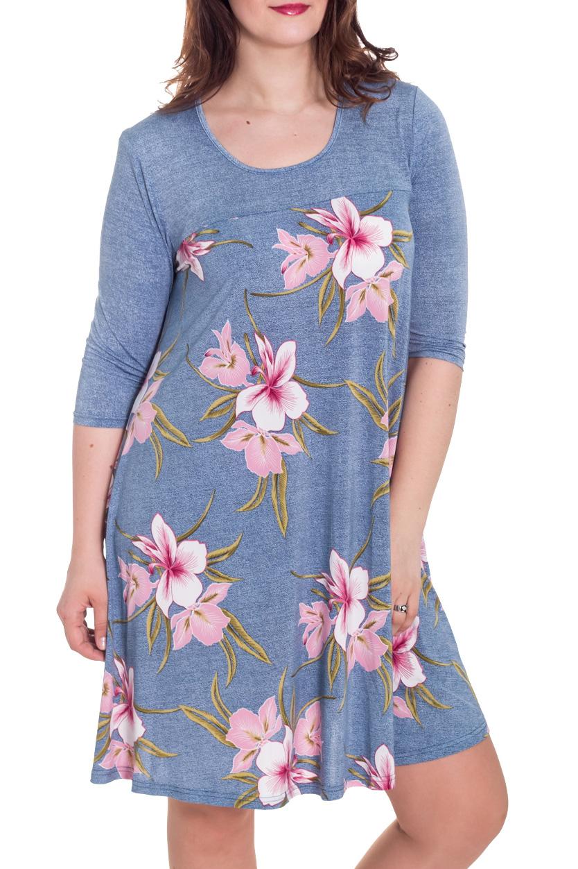 ПлатьеПлатья<br>Красивое женское платье с рукавами до локтя. Модель выполнена из мягкого трикотажа. Отличный вариант для повседневного гардероба.  Цвет: голубой, розовый  Рост девушки-фотомодели 180 см<br><br>Горловина: С- горловина<br>По длине: До колена<br>По материалу: Трикотаж<br>По образу: Город,Свидание<br>По рисунку: Растительные мотивы,С принтом,Цветные,Цветочные<br>По силуэту: Полуприталенные<br>По стилю: Повседневный стиль<br>По форме: Платье - трапеция<br>Рукав: Рукав три четверти<br>По сезону: Осень,Весна<br>Размер : 48,52,54<br>Материал: Холодное масло<br>Количество в наличии: 4