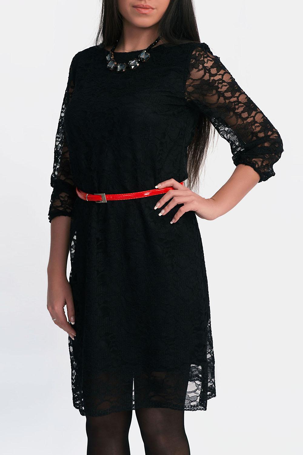 ПлатьеПлатья<br>Повседневно-нарядное платье прекрасно подойдет как для праздника, так и для романтичной встречи. Платье на подкладе, рукав 3/4. Пояс и бижутерия в комплект не входит.  Цвет: черный.<br><br>Горловина: С- горловина<br>По длине: До колена<br>По материалу: Вискоза,Гипюр,Трикотаж<br>По образу: Город,Свидание<br>По рисунку: Однотонные<br>По сезону: Весна,Зима,Лето,Осень,Всесезон<br>По силуэту: Полуприталенные<br>По стилю: Готический стиль,Нарядный стиль,Повседневный стиль<br>По форме: Платье - футляр<br>По элементам: С декором,С подкладом<br>Рукав: Рукав три четверти<br>Размер : 42,44<br>Материал: Трикотаж + Гипюр<br>Количество в наличии: 2