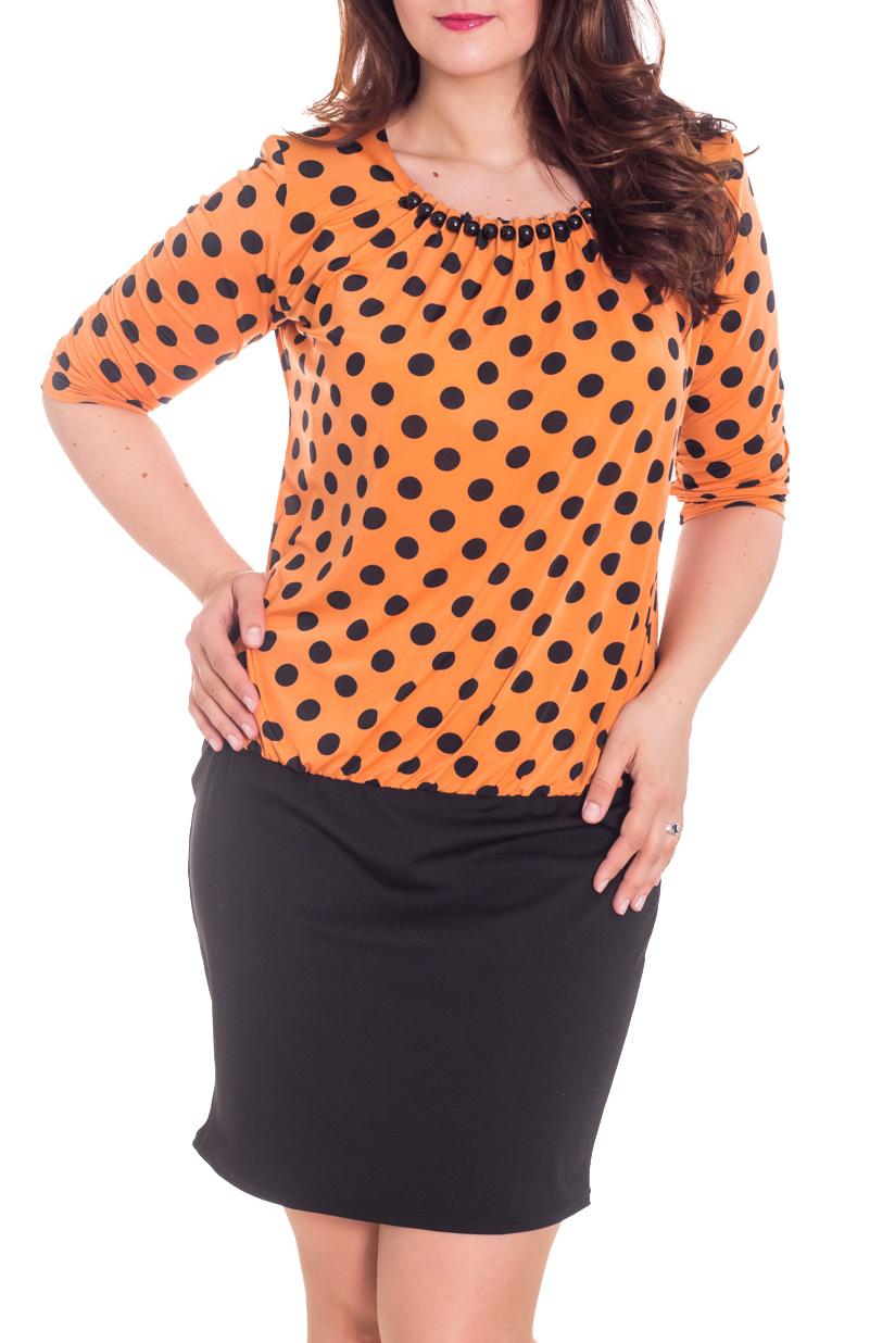 Платье S(414)-ARI р.48Платья<br>Изумительное женское платье с заниженной линией талии. Горловина украшена декоративной фурнитурой. Рукав 3/4.  Цвет: оранжевый и черный  Рост девушки-фотомодели 180 см<br><br>Горловина: С- горловина<br>По длине: До колена<br>По материалу: Вискоза,Трикотаж<br>По рисунку: В горошек,С принтом,Цветные<br>По силуэту: Полуприталенные<br>По стилю: Повседневный стиль<br>По элементам: С декором,С заниженной талией,С отделочной фурнитурой,Со складками<br>Рукав: Рукав три четверти<br>По сезону: Осень,Весна<br>Размер : 48,50,52,54,56,58<br>Материал: Холодное масло<br>Количество в наличии: 9