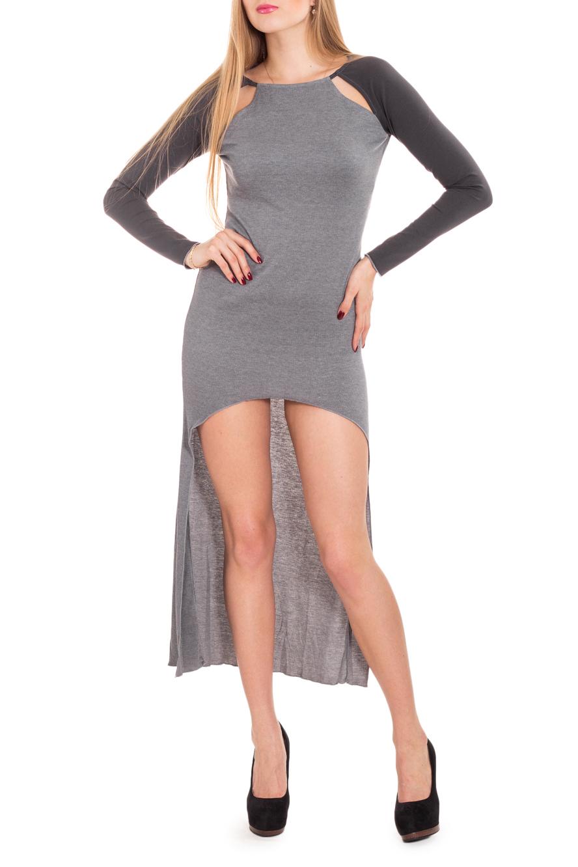 ПлатьеПлатья<br>Необычное платье – современная стильная модель для самых модных девушек. Длинное сзади и очень короткое спереди, оно привлекает внимание к вашей стройной фигуре. Прорези на плечах в рукаве реглан сделают вас не только сексуально привлекательнее, но и более стильной. Дополнительная деталь в виде капюшона-шарфа, который легко отстегивается, позволяет создавать несколько разных образов.  Цвет: серый  Рост девушки-фотомодели 170 см.<br><br>Горловина: С- горловина<br>По длине: Мини<br>По материалу: Вискоза,Трикотаж<br>По рисунку: Цветные<br>По силуэту: Приталенные<br>По стилю: Молодежный стиль,Повседневный стиль,Кэжуал<br>По форме: Платье - футляр<br>По элементам: С вырезом,С капюшоном,С фигурным низом,Со шлейфом<br>Рукав: Длинный рукав<br>По сезону: Осень,Весна,Зима<br>Размер : 42,44,46<br>Материал: Трикотаж<br>Количество в наличии: 3