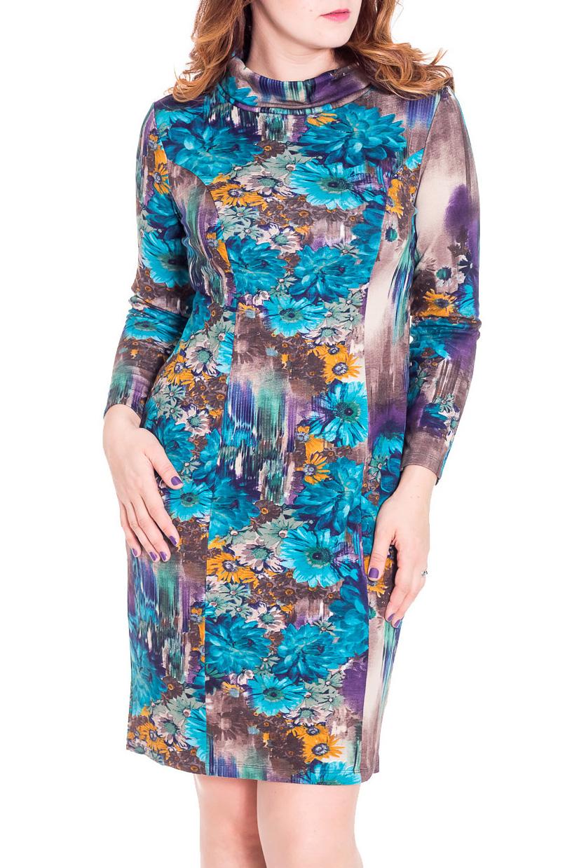 ПлатьеПлатья<br>Яркое платье прямое, с рельефными швами по полочке и спинке.  Цвет: голубой, сиреневый, оранжевый  Рост девушки-фотомодели 180 см<br><br>Воротник: Хомут<br>По длине: До колена<br>По материалу: Вискоза,Трикотаж<br>По рисунку: Растительные мотивы,Цветные,Цветочные<br>По сезону: Весна,Осень,Зима<br>По силуэту: Полуприталенные<br>По стилю: Повседневный стиль<br>По форме: Платье - футляр<br>Рукав: Длинный рукав<br>Размер : 46,48,50,56<br>Материал: Трикотаж<br>Количество в наличии: 10