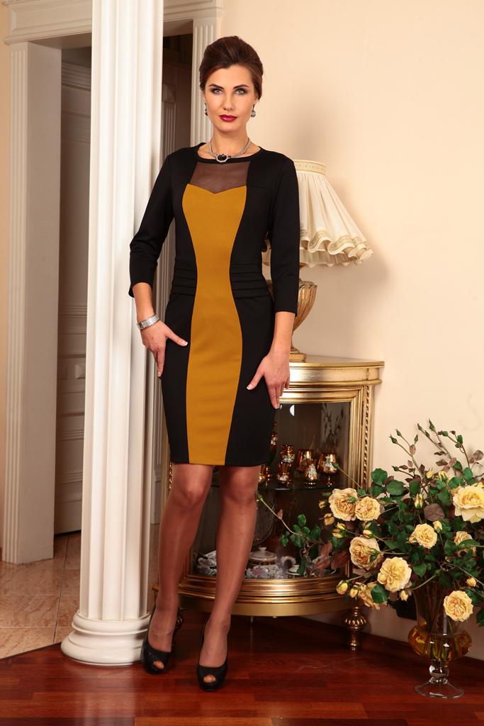ПлатьеПлатья<br>Великолепное платье с вертикальной вставкой, которая зрительно вытягивает силуэт. Модель выполнена из плотного трикотажа и гипюровой сетки. Отличный выбор для любого случая.   В изделии использованы цвета: черный, горчичный  Ростовка изделия 170 см.  Параметры (обхват груди; обхват талии; обхват бедер): 44 размер - 88; 66,4; 96 см 46 размер - 92; 70,6; 100 см 48 размер - 96; 74,2; 104 см 50 размер - 100; 90; 106 см 52 размер - 104; 94; 110 см 54-56 размер - 108-112; 98-102; 114-118 см 58-60 размер - 116-120; 106-110; 124-130 см<br><br>Горловина: С- горловина<br>По длине: До колена<br>По материалу: Гипюровая сетка,Трикотаж<br>По образу: Город,Свидание<br>По рисунку: Цветные<br>По силуэту: Приталенные<br>По стилю: Нарядный стиль,Повседневный стиль<br>По форме: Платье - футляр<br>По элементам: С декором<br>Рукав: Рукав три четверти<br>По сезону: Осень,Весна<br>Размер : 46<br>Материал: Трикотаж + Гипюровая сетка<br>Количество в наличии: 1