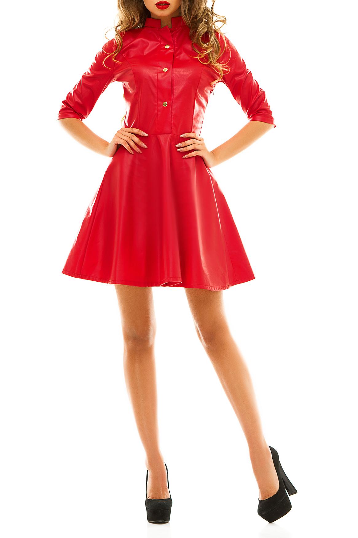 ПлатьеПлатья<br>Броское платье из эко кожи с клепками – модный тренд этого сезона, который продолжает набирать популярность. Благодаря современному материалу изделие отлично сидит на фигуре, не стесняет движений и не требует абсолютно никаких дополнительных аксессуаров.   Широкая планка с тремя клепками до груди и элегантный воротник стойка придают стильному и очень нарядному платью официальность. Расклешенная юбка скрывает все недостатки фигуры, и позволяет вести себя уверенно при публичных выступлениях или на вечеринке. Поскольку эко кожа является абсолютным трендом сезона, вы можете дополнить платье курткой из этой ткани и сумочкой, подходящей под формат мероприятия.  Изделие из эко кожи прослужат вам довольно долго, поскольку материал разработан по особой технологии, предотвращающей растрескивание и потертости.   Цвет: красный.  Ростовка изделия 170 см<br><br>Воротник: Стойка<br>По длине: До колена<br>По материалу: Искусственная кожа<br>По рисунку: Однотонные<br>По силуэту: Приталенные<br>По стилю: Готический стиль,Кэжуал,Молодежный стиль,Нарядный стиль,Повседневный стиль,Ультрамодный стиль<br>По форме: Платье - трапеция<br>По элементам: С воротником,С декором,С отделочной фурнитурой<br>Рукав: До локтя,Рукав три четверти<br>По сезону: Осень,Весна<br>Размер : 42<br>Материал: Искусственная кожа<br>Количество в наличии: 1