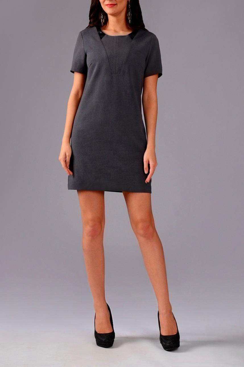 ПлатьеПлатья<br>Стильное женское платье прилегающего силуэта с кожаными вставками. На спинке изделия декоративная молния.  Цвет: серый с черными кожаными вставками.  Рост девушки-фотомодели 170 см<br><br>Горловина: С- горловина<br>По длине: До колена<br>По материалу: Костюмные ткани,Тканевые<br>По рисунку: Однотонные<br>По сезону: Весна,Осень,Лето,Всесезон<br>По силуэту: Приталенные<br>По стилю: Классический стиль,Кэжуал,Офисный стиль,Повседневный стиль,Ультрамодный стиль<br>По форме: Платье - футляр<br>По элементам: С декором,С кожаными вставками,С молнией,С отделочной фурнитурой<br>Рукав: Короткий рукав<br>Размер : 40,42,46,48<br>Материал: Костюмно-плательная ткань<br>Количество в наличии: 4