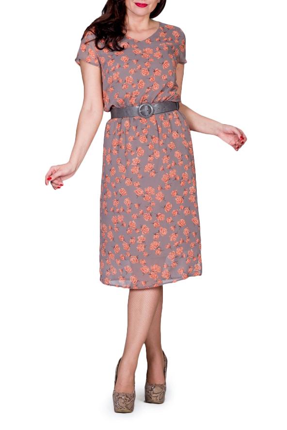 ПлатьеПлатья<br>Летнее платье длиной ниже колена с короткими рукавами. Модель выполнена из приятного материала. Отличный выбор для повседневного гардероба.  Платье без пояса.  В изделии использованы цвета: какао, коралловый и др.  Ростовка изделия 164 см.<br><br>Горловина: V- горловина<br>Рукав: Короткий рукав<br>Длина: Ниже колена<br>Материал: Шифон<br>Рисунок: Растительные мотивы,С принтом,Цветные,Цветочные<br>Сезон: Лето<br>Силуэт: Полуприталенные<br>Стиль: Летний стиль,Повседневный стиль<br>Размер : 44,46,50<br>Материал: Шифон<br>Количество в наличии: 3