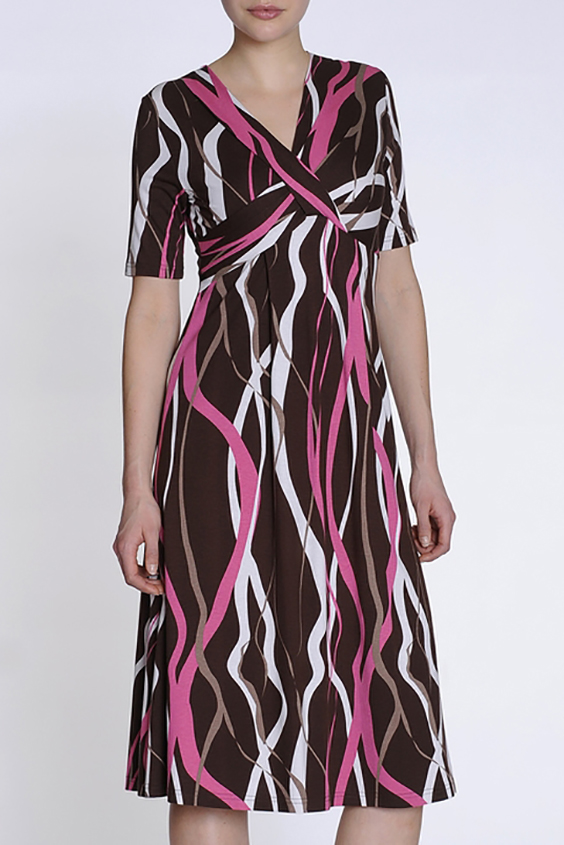 ПлатьеПлатья<br>Милое платье с завышенной талией. Модель выполнена из приятного материала. Отличный выбор для любого случая.  Цвет: коричневый, розовый, белый  Ростовка изделия 170 см.<br><br>Горловина: V- горловина,Запах<br>По длине: Ниже колена<br>По материалу: Трикотаж<br>По рисунку: В полоску,С принтом,Цветные<br>По сезону: Лето,Осень,Весна<br>По силуэту: Приталенные<br>По стилю: Повседневный стиль<br>По форме: Платье - трапеция<br>По элементам: С завышенной талией<br>Рукав: Короткий рукав<br>Размер : 44,46<br>Материал: Трикотаж<br>Количество в наличии: 2
