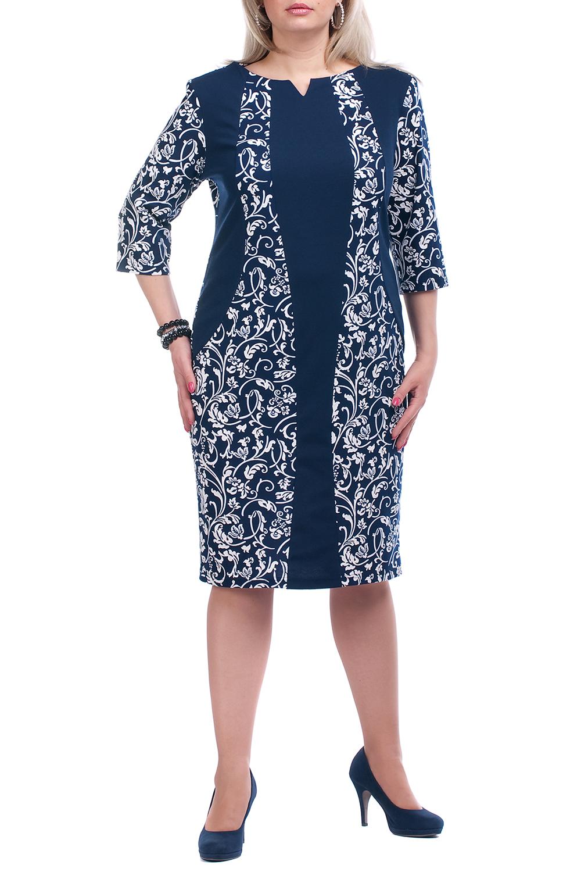 ПлатьеПлатья<br>Повседневное платье с фигурной горловиной и рукавами 3/4. Модель выполнена из плотного трикотажа. Отличный выбор для повседневного гардероба.  Цвет: синий, белый  Рост девушки-фотомодели 173 см.  Параметры изделия в размере 56: Обхват груди - 120 см., обхват талии - 114 см., обхват бедер - 124 см<br><br>По длине: Ниже колена<br>По материалу: Вискоза,Трикотаж<br>По образу: Город,Свидание<br>По рисунку: Цветные,С принтом<br>По сезону: Весна,Осень<br>По силуэту: Полуприталенные<br>По стилю: Повседневный стиль<br>По форме: Платье - футляр<br>Рукав: Рукав три четверти<br>Горловина: Фигурная горловина<br>Размер : 52,54,56,62,66,68,70<br>Материал: Трикотаж<br>Количество в наличии: 27