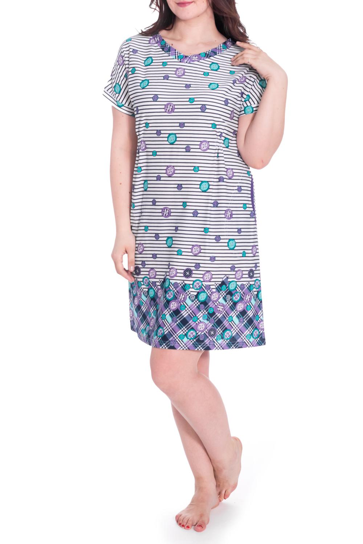 ПлатьеПлатья<br>Домашнее платье с короткими рукавами. Домашняя одежда, прежде всего, должна быть удобной, практичной и красивой. В платье Вы будете чувствовать себя комфортно, особенно, по вечерам после трудового дня. Ростовка изделия 164 см.  В изделии использованы цвета: белый, темно-синий, сиреневый и др.  Рост девушки-фотомодели 180 см<br><br>Горловина: С- горловина<br>По длине: До колена<br>По материалу: Хлопок<br>По рисунку: В клетку,В полоску,С принтом,Цветные<br>По сезону: Весна,Зима,Лето,Осень,Всесезон<br>По силуэту: Полуприталенные<br>Рукав: Короткий рукав<br>Размер : 52<br>Материал: Хлопок<br>Количество в наличии: 1