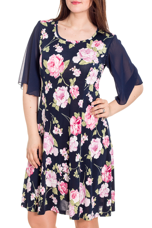 ПлатьеПлатья<br>Цветное платье с круглой горловиной и рукавами до локтя. Модель выполнена из приятного трикотажа. Отличный выбор для любого случая.   Цвет: синий, розовый, зеленый  Рост девушки-фотомодели 180 см<br><br>Горловина: С- горловина<br>По длине: До колена<br>По материалу: Трикотаж,Шифон<br>По образу: Свидание<br>По рисунку: Растительные мотивы,С принтом,Цветные,Цветочные<br>По сезону: Весна,Зима,Лето,Осень,Всесезон<br>По силуэту: Полуприталенные<br>По стилю: Нарядный стиль<br>По форме: Платье - трапеция<br>Рукав: До локтя<br>Размер : 48,50<br>Материал: Холодное масло + Шифон<br>Количество в наличии: 3