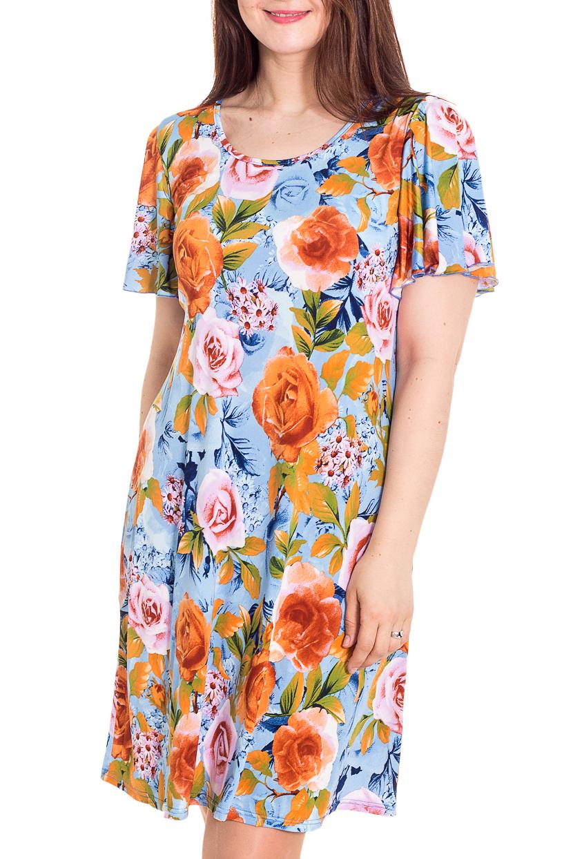 ПлатьеПлатья<br>Цветное платье с круглой горловиной и короткими рукавами. Модель выполнена из приятного трикотажа. Отличный выбор для любого случая.   Цвет: голубой, оранжевый, желтый, зеленый  Рост девушки-фотомодели 180 см<br><br>Горловина: С- горловина<br>По длине: До колена<br>По материалу: Трикотаж,Вискоза<br>По образу: Свидание,Город<br>По рисунку: Растительные мотивы,С принтом,Цветные,Цветочные<br>По силуэту: Полуприталенные<br>По стилю: Повседневный стиль<br>По форме: Платье - трапеция<br>Рукав: Короткий рукав<br>По сезону: Лето<br>Размер : 46,48,50,52,54<br>Материал: Холодное масло<br>Количество в наличии: 7