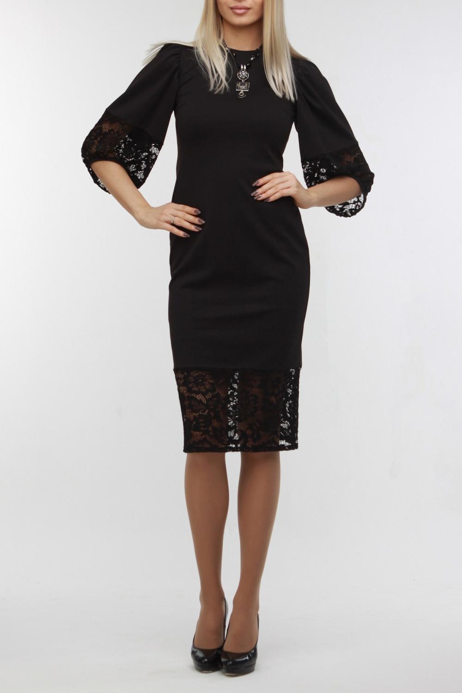ПлатьеПлатья<br>Эффектное приталенное платье из высококачественного джерси черного цвета. Низ платья и рукавов выполнены из кружева в тон. На спинке молния, горловина обработана обтачкой. Изюминкой этого платья являются пышные рукава с оригинально оформленным низом. Прекрасный вариант для особого случая и торжества.  Цвет: черный  Рост девушки-фотомодели 178 см.<br><br>Горловина: С- горловина<br>По длине: Ниже колена<br>По материалу: Гипюр,Трикотаж<br>По образу: Выход в свет,Свидание<br>По рисунку: Однотонные<br>По сезону: Весна,Зима,Лето,Осень,Всесезон<br>По силуэту: Приталенные<br>По стилю: Нарядный стиль<br>По форме: Платье - футляр<br>Рукав: Рукав три четверти<br>Размер : 48<br>Материал: Трикотаж + Гипюр<br>Количество в наличии: 1