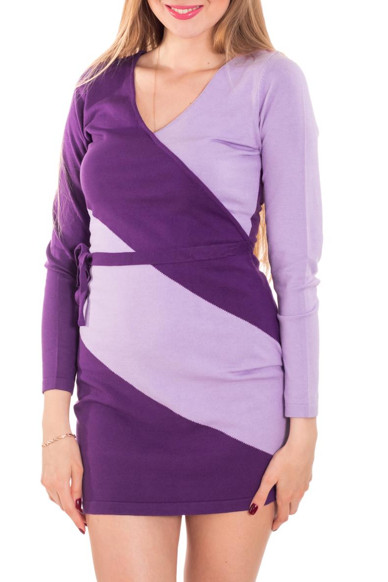 ПлатьеПлатья<br>Оригинальное вязаное платье с широкими косыми полосами имитирует платье с запахом. V-образный вырез позволяет показать красоту области декольте и делает образ женственным, элегантным.  Цвет: фиолетовый, сиреневый  Рост девушки-фотомодели 170 см.<br><br>Горловина: V- горловина<br>По длине: До колена,Мини<br>По материалу: Трикотаж<br>По рисунку: Цветные<br>По стилю: Повседневный стиль<br>По форме: Платье - футляр<br>Рукав: Длинный рукав<br>По сезону: Осень,Весна,Зима<br>По силуэту: Приталенные<br>По элементам: С декором<br>Размер : 42,46<br>Материал: Трикотаж<br>Количество в наличии: 2