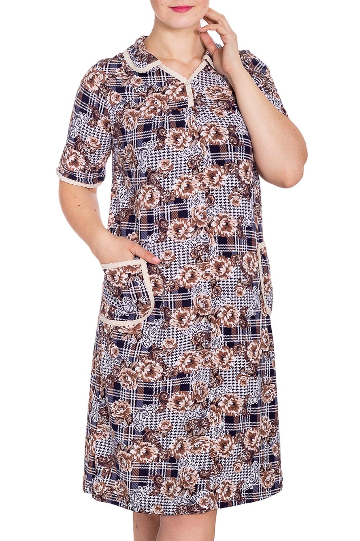 ПлатьеПлатья<br>Хлопковое платье с рукавами до локтя. Домашняя одежда, прежде всего, должна быть удобной, практичной и красивой. В наших изделиях Вы будете чувствовать себя комфортно, особенно, по вечерам после трудового дня.  В изделии использованы цвета: белый, синий, бежевый и др.  Рост девушки-фотомодели 180 см.<br><br>По длине: Ниже колена<br>По материалу: Трикотаж,Хлопок<br>По рисунку: В клетку,Растительные мотивы,С принтом,Цветные,Цветочные<br>По сезону: Весна,Зима,Лето,Осень,Всесезон<br>По силуэту: Полуприталенные<br>По форме: Платья<br>По элементам: С карманами<br>Рукав: До локтя<br>Размер : 50<br>Материал: Трикотаж<br>Количество в наличии: 1