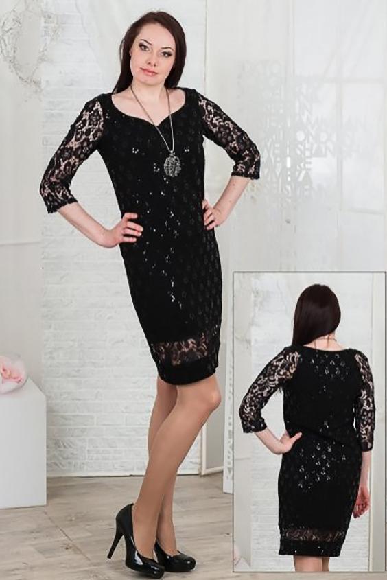 ПлатьеПлатья<br>Комфортное платье свободного силуэта  выполнено из quot;фукрыquot; (двухслойная ткань с фактурой пузырьков с пайетками). Рукав-реглан длиной 3/4 - самый удобный в эксплуатации. Изюминка модели - фигурный вырез quot;сердечкомquot; -  отлично подойдет для любительниц открывать зону декольте, который конечно же придаст образу кокетства.Рукава выполнены из красивого гипюра, нижний подрез также привлечет внимание.   Длина изделия около 101 см  Цвет: черный<br><br>По длине: До колена<br>По материалу: Гипюр,Трикотаж<br>По рисунку: Однотонные,Фактурный рисунок<br>По сезону: Весна,Всесезон,Зима,Лето,Осень<br>По силуэту: Полуприталенные<br>По стилю: Нарядный стиль,Вечерний стиль<br>По форме: Платье - футляр<br>Рукав: Рукав три четверти<br>Горловина: Фигурная горловина<br>Размер : 46,48,50,52,54,56<br>Материал: Трикотаж + Гипюр<br>Количество в наличии: 9