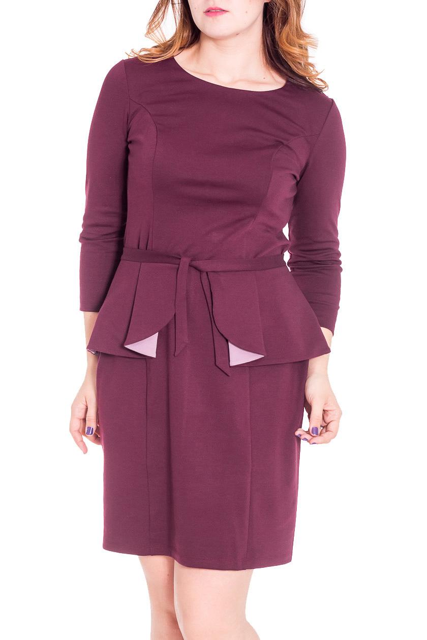 ПлатьеПлатья<br>Рельефные швы по спинке и полочке гарантируют посадку по всем изгибам фигуры. Зауженная юбка платья зрительно удлиняет ноги. Дополнительная деталь – баска,  делает из этого платья многофункциональную модель трансформер.  Цвет: пурпурный  Рост девушки-фотомодели 180 см<br><br>Горловина: С- горловина<br>Рукав: Рукав три четверти<br>Длина: До колена<br>Материал: Трикотаж<br>Рисунок: Однотонные<br>Сезон: Весна,Осень,Зима<br>Силуэт: Полуприталенные<br>Стиль: Офисный стиль,Повседневный стиль<br>Форма: Платье - футляр<br>Элементы: С баской<br>Размер : 46,50<br>Материал: Джерси<br>Количество в наличии: 2