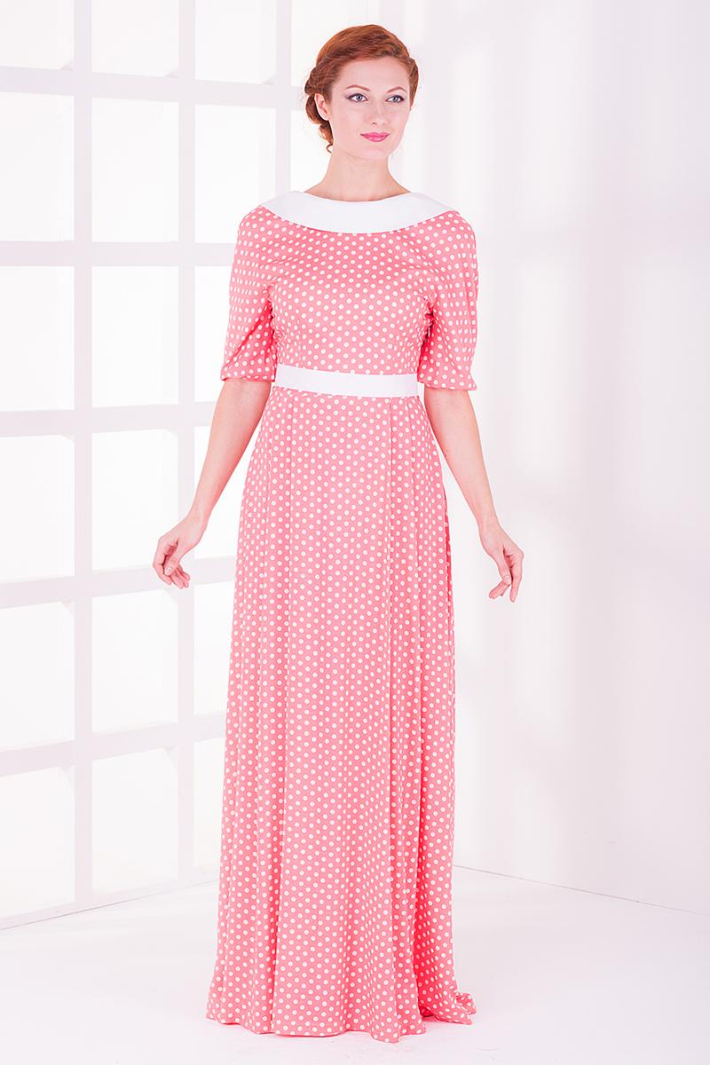 ПлатьеПлатья<br>Элегантное женское платье в пол. Отличный выбор для любого случая.  Платье без пояса.  Цвет: розовый в белый горошек.<br><br>Горловина: С- горловина<br>По длине: Макси<br>По материалу: Вискоза<br>По образу: Свидание,Выход в свет<br>По рисунку: В горошек,Цветные,С принтом<br>По сезону: Весна,Всесезон,Зима,Лето,Осень<br>По силуэту: Полуприталенные<br>По стилю: Молодежный стиль,Повседневный стиль,Романтический стиль,Нарядный стиль,Винтаж<br>Рукав: До локтя<br>Размер : 44<br>Материал: Вискоза<br>Количество в наличии: 2