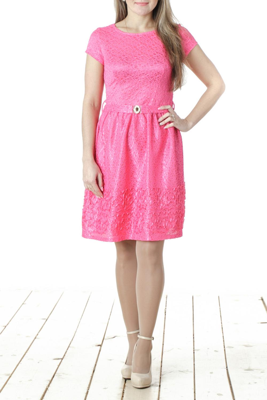 ПлатьеПлатья<br>Нарядное женское платье с круглой горловиной и короткими рукавами. Модель выполнена из фактурного гипюра. Отличный выбор для любого торжества. Пояс в комплект не входит  Цвет: розовый  Длина изделия 88 см  Длина рукава 13 см  Рост девушки-фотомодели 163 см<br><br>Горловина: С- горловина<br>По длине: До колена<br>По материалу: Вискоза,Гипюр,Тканевые<br>По рисунку: Однотонные,Фактурный рисунок<br>По сезону: Весна,Всесезон,Зима,Лето,Осень<br>По силуэту: Полуприталенные<br>По стилю: Нарядный стиль,Повседневный стиль<br>По элементам: С декором<br>Рукав: Короткий рукав<br>По форме: Платье - трапеция<br>Размер : 42,44,46,48<br>Материал: Гипюр<br>Количество в наличии: 4