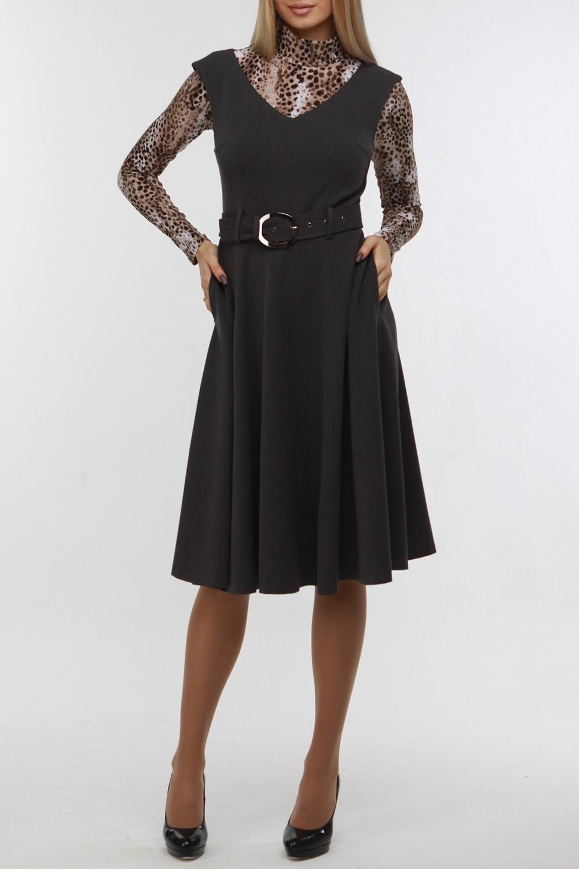 ПлатьеСарафаны<br>Женственный сарафан с широкой юбкой-клеш выполнен из мягкой костюмной ткани серого цвета. Плечевая пройма чуть спущена, вырез горловины обработан обтачкой, на спинке потайная молния 50 см. В боковых швах юбки удобные карманы. В комплект входит пояс-ремень, выполненный из этой же ткани. Платье без водолазки  Цвет: серый  Рост девушки-фотомодели 178 см<br><br>Бретели: Широкие бретели<br>Горловина: V- горловина<br>По длине: Ниже колена<br>По материалу: Вискоза,Тканевые<br>По образу: Город,Офис,Свидание<br>По рисунку: Однотонные<br>По сезону: Весна,Зима,Лето,Осень,Всесезон<br>По силуэту: Приталенные<br>По стилю: Кэжуал,Офисный стиль,Повседневный стиль<br>По элементам: С поясом<br>Рукав: Без рукавов<br>Размер : 48,54<br>Материал: Костюмно-плательная ткань<br>Количество в наличии: 2