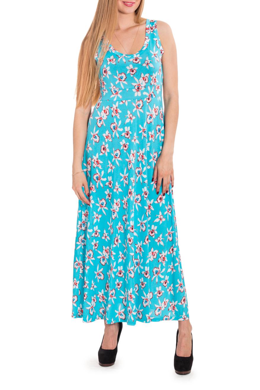 ПлатьеПлатья<br>Цветное платье без рукавов. Модель выполнена из приятного трикотажа. Отличный выбор для повседневного гардероба.   Цвет: голубой, мультицвет  Рост девушки-фотомодели 170 см<br><br>По материалу: Вискоза,Трикотаж<br>По рисунку: Растительные мотивы,С принтом,Цветные,Цветочные<br>По силуэту: Полуприталенные<br>По стилю: Повседневный стиль,Летний стиль<br>Рукав: Без рукавов<br>Горловина: С- горловина<br>По длине: Макси<br>По сезону: Лето<br>Размер : 44,46,50,52,54<br>Материал: Холодное масло<br>Количество в наличии: 10