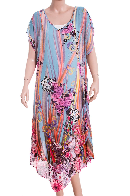 ПлатьеПлатья<br>Изумительное платье с подкладом из трикотажа. Женственное платье с асимметричным низом станет изюминкой Вашего гардероба. Побалуйте себя этой великолепной покупкой  Цвет: мультицвет.  Ростовка изделия 170 см.<br><br>По материалу: Шифон<br>По рисунку: Растительные мотивы,С принтом,Цветные,Цветочные<br>По силуэту: Свободные<br>По стилю: Летний стиль,Повседневный стиль<br>По элементам: С подкладом,С фигурным низом<br>Рукав: Рукав три четверти<br>По сезону: Лето<br>Горловина: V- горловина<br>По длине: Ниже колена<br>Размер : 44-46<br>Материал: Шифон<br>Количество в наличии: 1