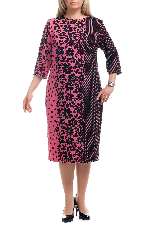 ПлатьеПлатья<br>Повседневное платье с круглой горловиной и рукавами 3/4. Модель выполнена из плотного трикотажа. Отличный выбор для повседневного гардероба.  Цвет: черный, розовый  Рост девушки-фотомодели 173 см.<br><br>Горловина: С- горловина<br>По длине: Ниже колена<br>По материалу: Трикотаж<br>По рисунку: Растительные мотивы,Цветные,Цветочные<br>По сезону: Весна,Осень,Зима<br>По силуэту: Полуприталенные<br>По стилю: Повседневный стиль<br>По форме: Платье - футляр<br>Рукав: Рукав три четверти<br>Размер : 52,54,56,60,68<br>Материал: Джерси<br>Количество в наличии: 13