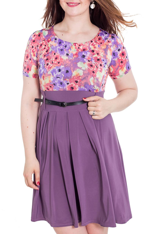 ПлатьеПлатья<br>Симпатичное женское платье с круглой горловиной и короткими рукавами. Модель выполнена из приятного трикотажа. Отличный выбор для повседневного гардероба. Платье без пояса.  Цвет: фиолетовый, сиреневый, коралловый, желтый  Рост девушки-фотомодели 180 см.<br><br>Горловина: С- горловина<br>По длине: До колена<br>По материалу: Вискоза,Трикотаж<br>По образу: Город,Свидание<br>По рисунку: Растительные мотивы,С принтом,Цветные,Цветочные<br>По сезону: Весна,Лето<br>По силуэту: Приталенные<br>По стилю: Повседневный стиль<br>По форме: Платье - трапеция<br>По элементам: С завышенной талией,Со складками<br>Рукав: Короткий рукав<br>Размер : 48,50,52,54,56<br>Материал: Холодное масло<br>Количество в наличии: 10