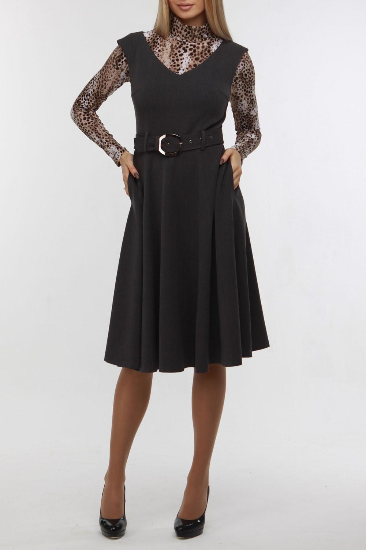 ПлатьеСарафаны<br>Универсальное платье без рукавов. Модель выполнена из приятного материала. Отличный выбор для любого случая. Платье можно носить как сарафан с водолазками и блузками. Платье с поясом.  В изделии использованы цвета: темно-серый  Рост девушки-фотомодели 178 см.<br><br>Бретели: Широкие бретели<br>Горловина: V- горловина<br>По длине: Ниже колена<br>По материалу: Костюмные ткани<br>По рисунку: Однотонные<br>По сезону: Весна,Зима,Лето,Осень,Всесезон<br>По силуэту: Приталенные<br>По стилю: Классический стиль,Офисный стиль,Повседневный стиль<br>Рукав: Без рукавов<br>По элементам: С поясом<br>Размер : 48,50,52<br>Материал: Костюмно-плательная ткань<br>Количество в наличии: 4