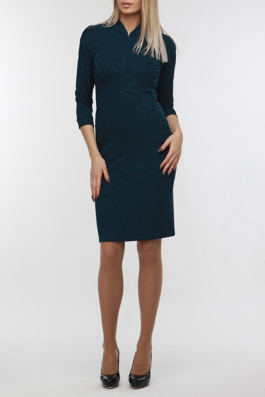 ПлатьеПлатья<br>Эффектное платье из мягкого трикотажа средней плотности, успешно сочетающем в себе деловой и романтичный стиль. Горловина оформлена воротником-стойкой, на полочке — потайная молния, позволяющая регулировать глубину декольте по своему выбору. Рукав со спущенной проймой имеет длину три четверти и манжет.  В изделии использованы цвета: синий  Рост девушки-фотомодели 178 см<br><br>Горловина: V- горловина<br>По длине: До колена<br>По материалу: Трикотаж<br>По рисунку: Однотонные<br>По сезону: Зима,Осень,Весна<br>По силуэту: Приталенные<br>По стилю: Офисный стиль,Повседневный стиль<br>По форме: Платье - футляр<br>Рукав: Рукав три четверти<br>По элементам: С манжетами<br>Воротник: Стойка<br>Размер : 44,48,50<br>Материал: Трикотаж<br>Количество в наличии: 3